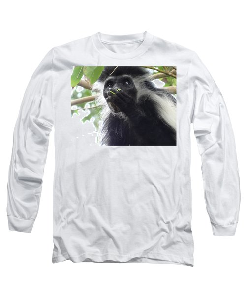 Colobus Monkey Eating Leaves In A Tree 2 Long Sleeve T-Shirt