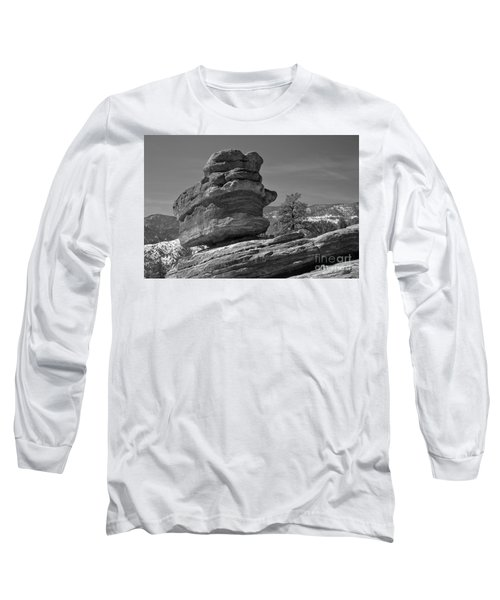Long Sleeve T-Shirt featuring the photograph Colorado Springs Balanced Rock Black And White by Adam Jewell