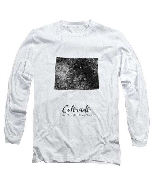Colorado State Map Art - Grunge Silhouette Long Sleeve T-Shirt