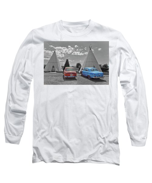 Colored Cars And Tee Pee Motel--holbrook Long Sleeve T-Shirt