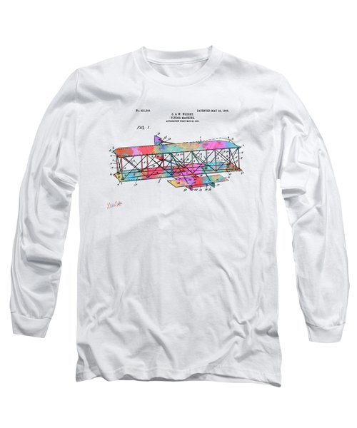 Colorful 1906 Wright Brothers Flying Machine Patent Long Sleeve T-Shirt
