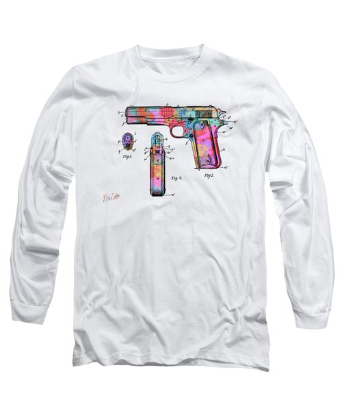 Colorful 1911 Colt 45 Browning Firearm Patent Artwork Minimal Long Sleeve T-Shirt