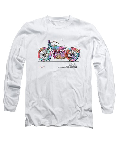 Colorful 1928 Harley Motorcycle Patent Artwork Long Sleeve T-Shirt
