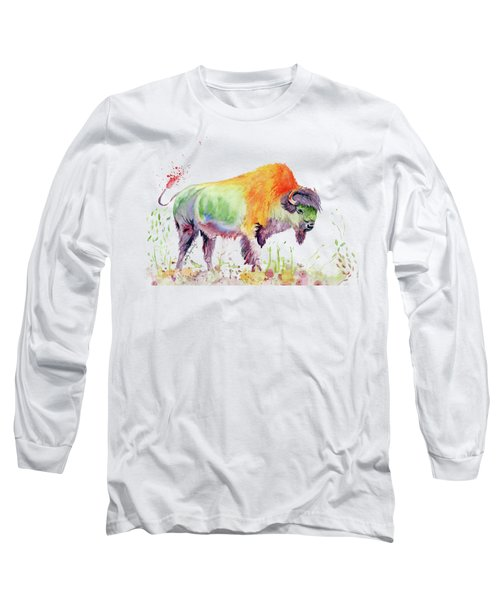 Colorful American Buffalo Long Sleeve T-Shirt by Melly Terpening