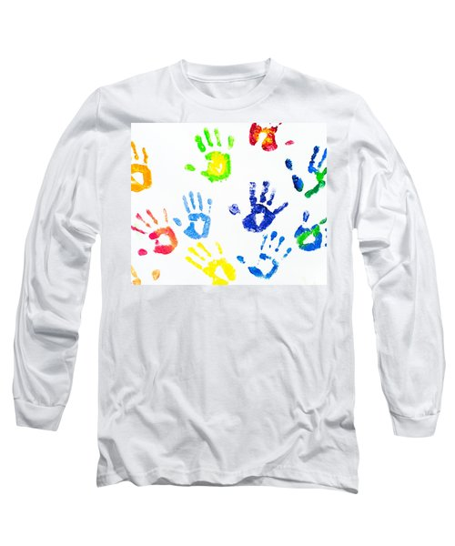 Long Sleeve T-Shirt featuring the photograph Colorful Arm Prints Abstract by Jenny Rainbow