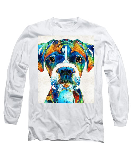 Colorful Boxer Dog Art By Sharon Cummings  Long Sleeve T-Shirt
