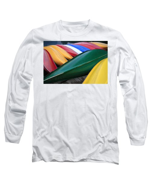 Colorful Canoes Long Sleeve T-Shirt by Catherine Alfidi