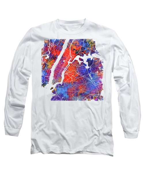 Colorful Cities - City Map New York  Long Sleeve T-Shirt