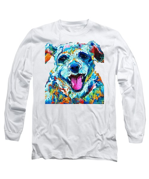 Colorful Dog Art - Smile - By Sharon Cummings Long Sleeve T-Shirt by Sharon Cummings