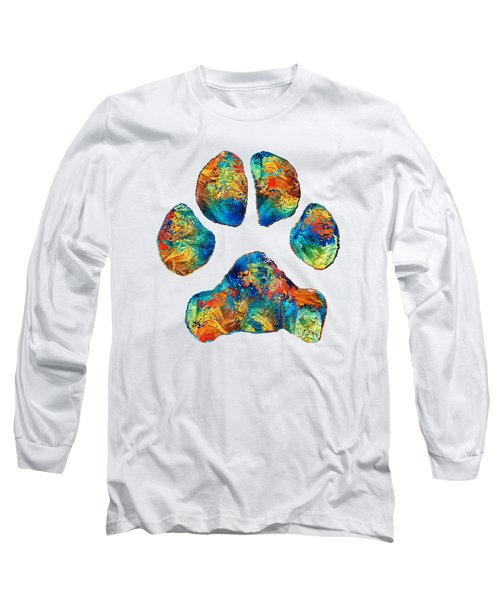 Colorful Dog Paw Print By Sharon Cummings Long Sleeve T-Shirt by Sharon Cummings