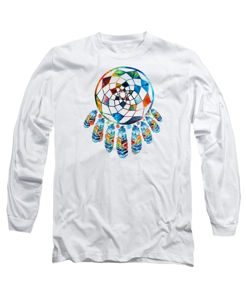 Colorful Dream Catcher By Sharon Cummings Long Sleeve T-Shirt by Sharon Cummings