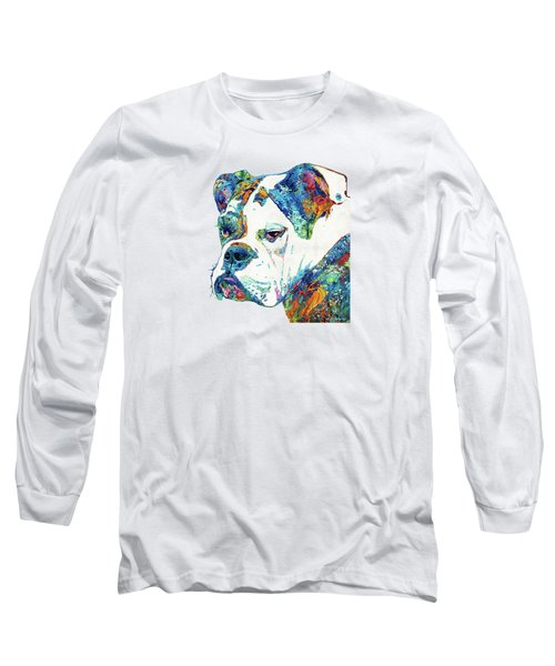 Colorful English Bulldog Art By Sharon Cummings Long Sleeve T-Shirt by Sharon Cummings