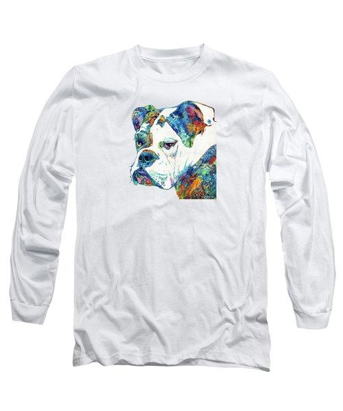 Colorful English Bulldog Art By Sharon Cummings Long Sleeve T-Shirt