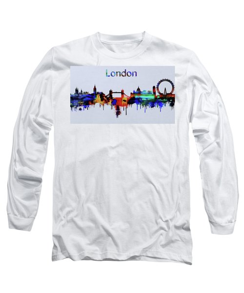 Colorful London Skyline Silhouette Long Sleeve T-Shirt by Dan Sproul