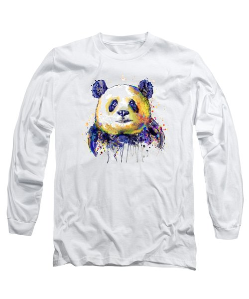 Long Sleeve T-Shirt featuring the mixed media Colorful Panda Head by Marian Voicu