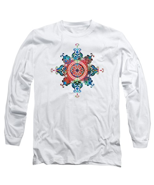 Long Sleeve T-Shirt featuring the painting Colorful Pattern Art - Color Fusion Design 3 By Sharon Cummings by Sharon Cummings