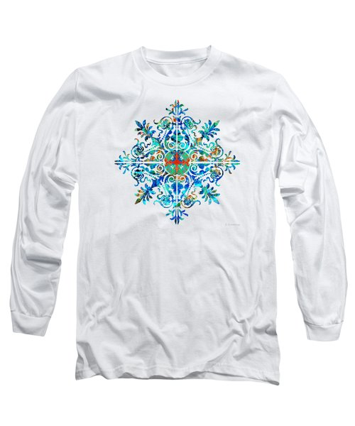 Long Sleeve T-Shirt featuring the painting Colorful Pattern Art - Color Fusion Design 5 By Sharon Cummings by Sharon Cummings