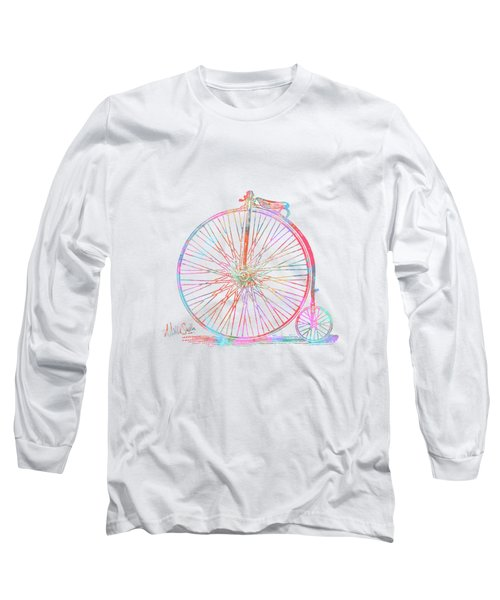 Colorful Penny-farthing 1867 High Wheeler Bicycle Long Sleeve T-Shirt