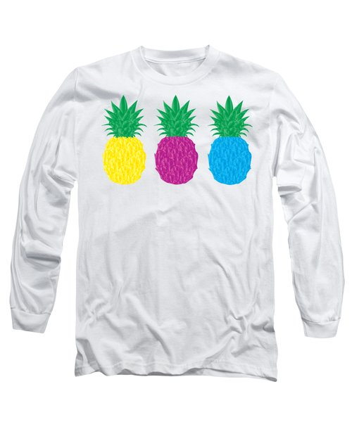 Colorful Pineapples Long Sleeve T-Shirt by Leah Hawkins