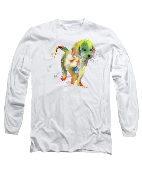Colorful Puppy Watercolor - Little Friend Long Sleeve T-Shirt by Melly Terpening