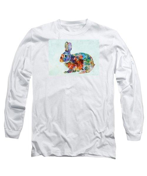 Colorful Rabbit Art Long Sleeve T-Shirt by Olga Hamilton