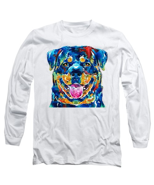 Long Sleeve T-Shirt featuring the painting Colorful Rottie Art - Rottweiler By Sharon Cummings by Sharon Cummings