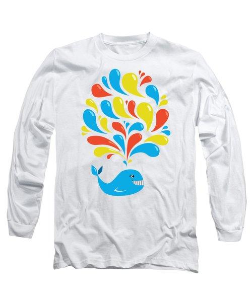 Colorful Swirls Happy Cartoon Whale Long Sleeve T-Shirt by Boriana Giormova