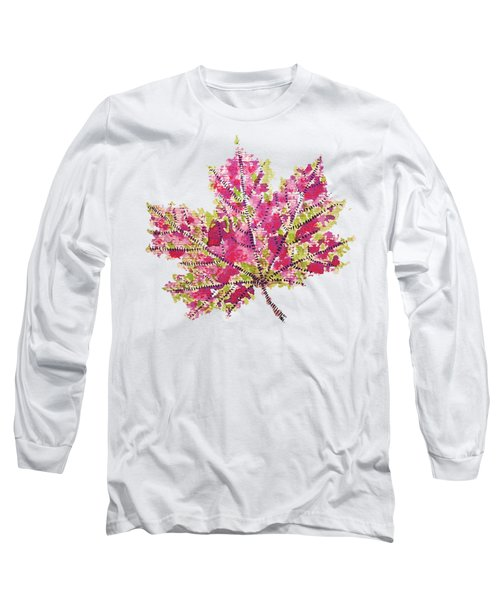 Colorful Watercolor Autumn Leaf Long Sleeve T-Shirt
