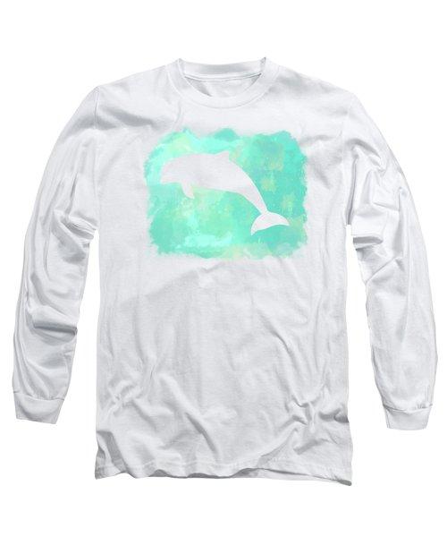 Colorful Watercolor Dolphin Sea Life Coastal Art Long Sleeve T-Shirt