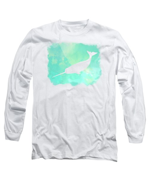 Colorful Watercolor Narwhal Sea Life Coastal Art Long Sleeve T-Shirt