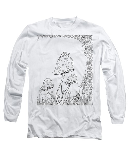 Coloring Page With Beautiful In The Garden 8 Drawing By Megan Duncanson Long Sleeve T-Shirt by Megan Duncanson