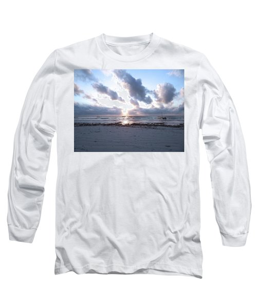 Coloured Sky - Sun Rays And Wooden Dhows Long Sleeve T-Shirt