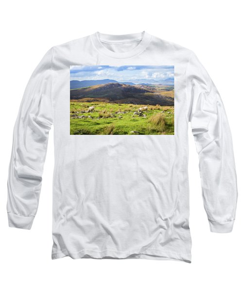 Colourful Undulating Irish Landscape In Kerry With Grazing Sheep Long Sleeve T-Shirt by Semmick Photo