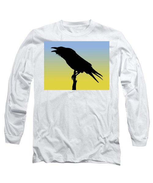 Common Raven Silhouette At Sunrise Long Sleeve T-Shirt
