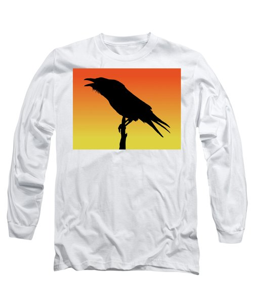 Common Raven Silhouette At Sunset Long Sleeve T-Shirt