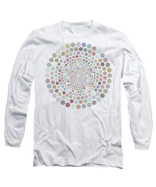 Long Sleeve T-Shirt featuring the painting Vortex Circle - White by Hailey E Herrera