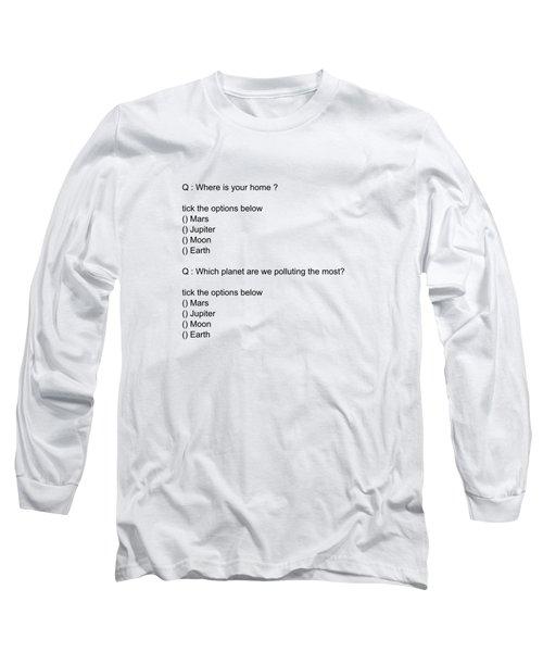 Conceptual 2d Mcq Earth Long Sleeve T-Shirt by Keshava Shukla