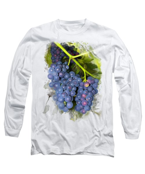 Long Sleeve T-Shirt featuring the painting Concord Grape by Ivana Westin