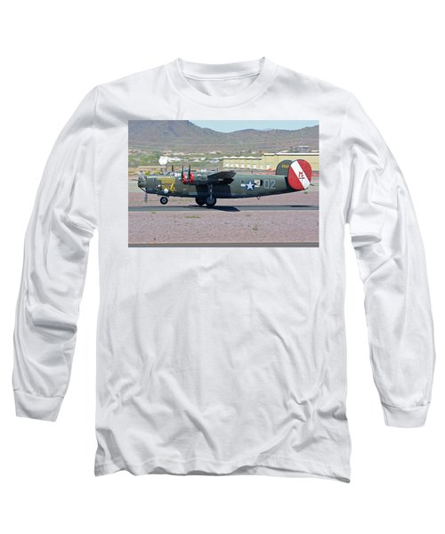 Long Sleeve T-Shirt featuring the photograph Consolidated B-24j Liberator N224j Witchcraft Deer Valley Arizona April 13 2016 by Brian Lockett