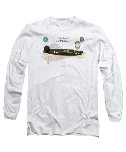 Consolidated, B-24j, Liberator, Rough Night Long Sleeve T-Shirt by Arthur Eggers
