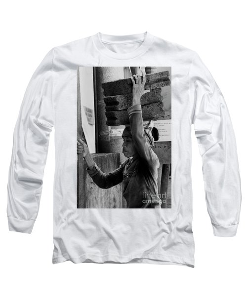 Long Sleeve T-Shirt featuring the photograph Construction Labourer - Bw by Werner Padarin