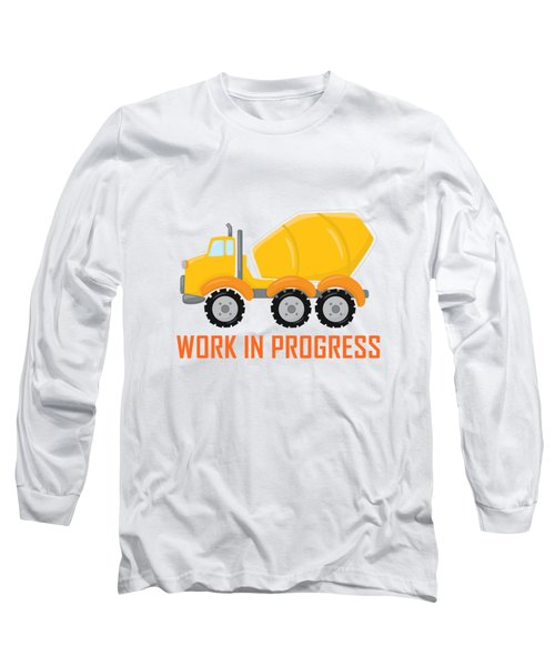 Construction Zone - Concrete Truck Work In Progress Gifts - Yellow Background Long Sleeve T-Shirt