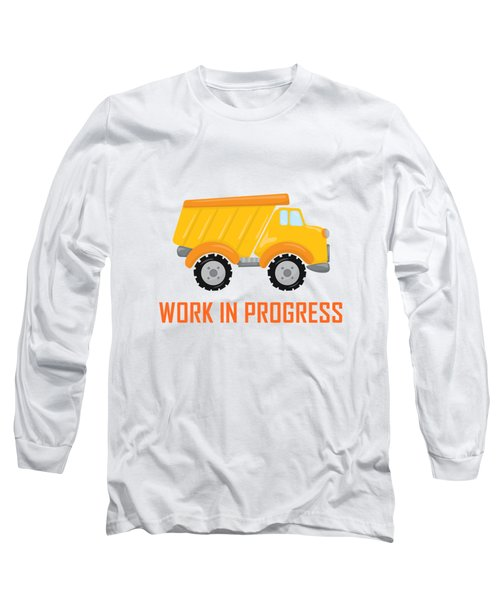 Construction Zone - Dump Truck Work In Progress Gifts - Yellow Background Long Sleeve T-Shirt
