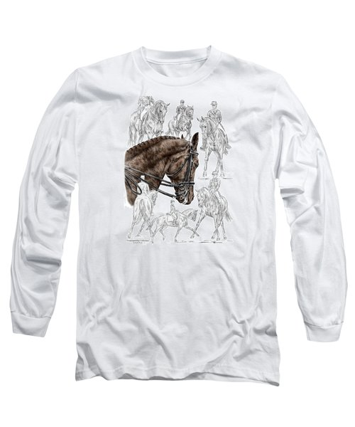 Contemplating Collection - Dressage Horse Print Color Tinted Long Sleeve T-Shirt