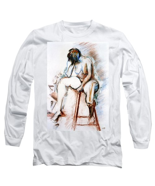 Contemplation - Nude On A Stool Long Sleeve T-Shirt