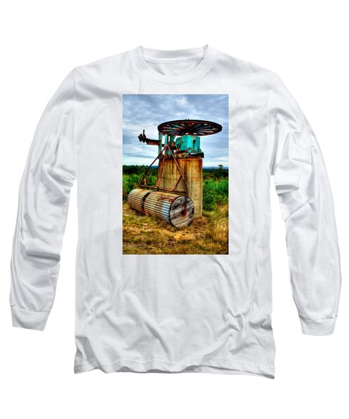 Contraption On Mt Agamenticus Long Sleeve T-Shirt by Richard Ortolano