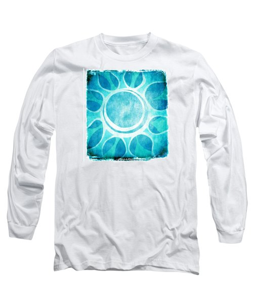 Cool Blue Flower Long Sleeve T-Shirt by Lenny Carter