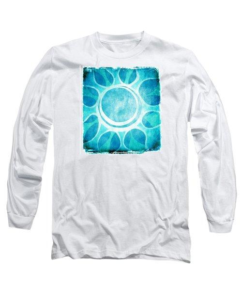 Long Sleeve T-Shirt featuring the digital art Cool Blue Flower by Lenny Carter