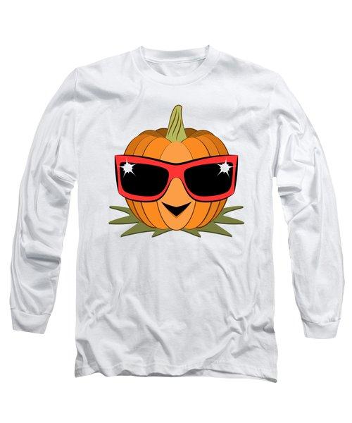 Cool Pumpkin Wearing Retro Nineties Sunglasses Long Sleeve T-Shirt by MM Anderson
