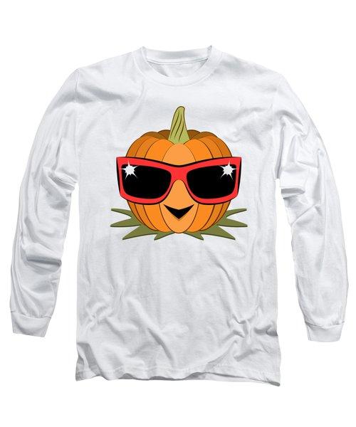 Cool Pumpkin Wearing Retro Nineties Sunglasses Long Sleeve T-Shirt